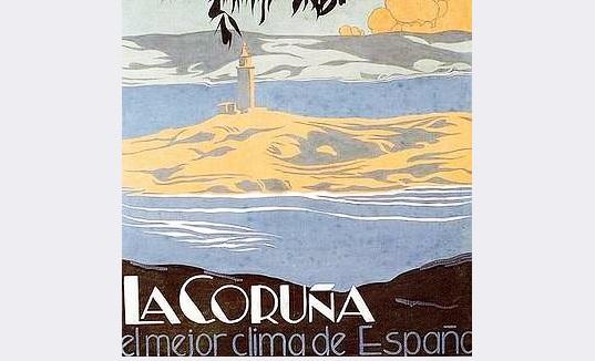 CUANDO A CORUÑA TENÍA | EL MEJOR CLIMA DE ESPAÑA | (en un cartel publicitario)